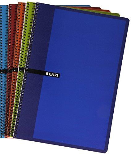 Enri 101085304 - Pack de 5 cuadernos con espiral simple, Pauta 3,...