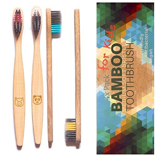 Bambus Zahnbürsten für Kinder 4er weich - Vegan Holzzahnbürste, BPA BPS frei (zertifiziert), Bambus-Holzkohle Borsten, kleine Kinderzahnbürste, 2-9 Jahre, biologisch abbaubar, Bio