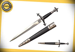 15'' Medieval Knight Fleur De Lis Historical Dagger Short Sword with Scabbard NIB perfect for cosplay outdoor camping
