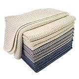 Polyte Premium Microfiber Kitchen Dish Hand Towel Waffle Weave 12 Pack