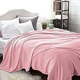 Bedsure Manta para Sofás de Franela 220x240cm - Manta para Cama 135/150 Reversible de 100% Microfibre Extra Suave - Manta Rosa Transpirable