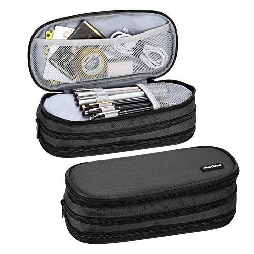 ProCase Big Capacity Pencil Case Pen Bag, Handheld Pencil Holder Pouch Pen Organizer Students Stationery Pouch with Durable Zipper Multi Compartments for School & Office Supplies –Black