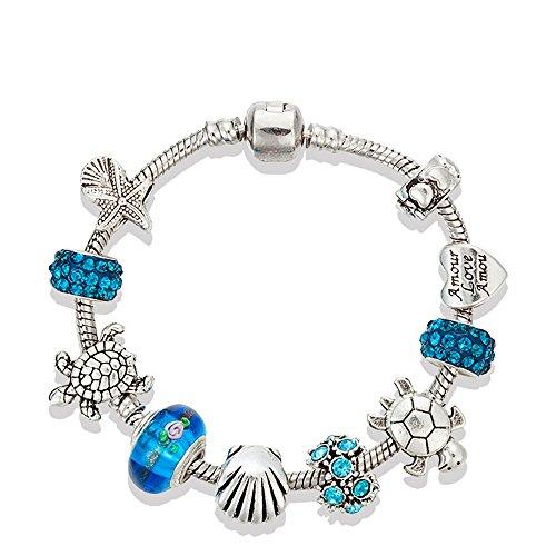 Majesto - European Ocean Beach Charm Beaded Bracelet 19 cm for Women and Teen Girls Sea Starfish Turtle Shell Aquamarine Murano Glass Beads Prime Quality Gift 925 Silver Plated