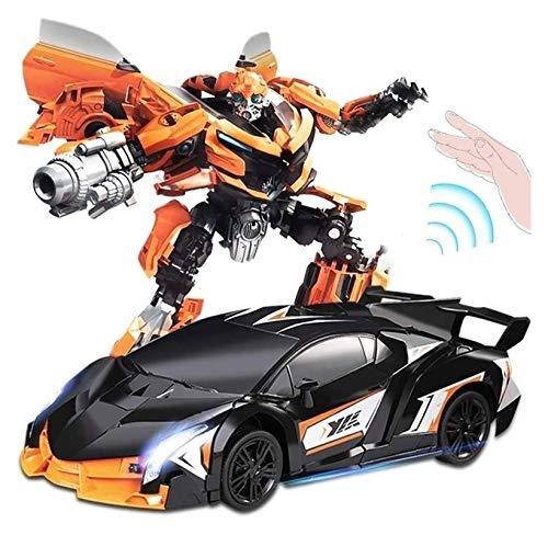YYQIANG Control Remoto de inducción Lamborghinis Transformadores de automóviles Robot Wireless Control Remoto Coche Recargable Racing Racing Niños Juguete Muchacho 360 ° Velocidad Drifting Cumpleaños
