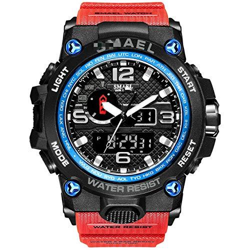 Herren Militäruhr 50m wasserdichte Armbanduhr Led Quarzuhr Sportuhr Männlich 22cm Schwarz Blau Rot
