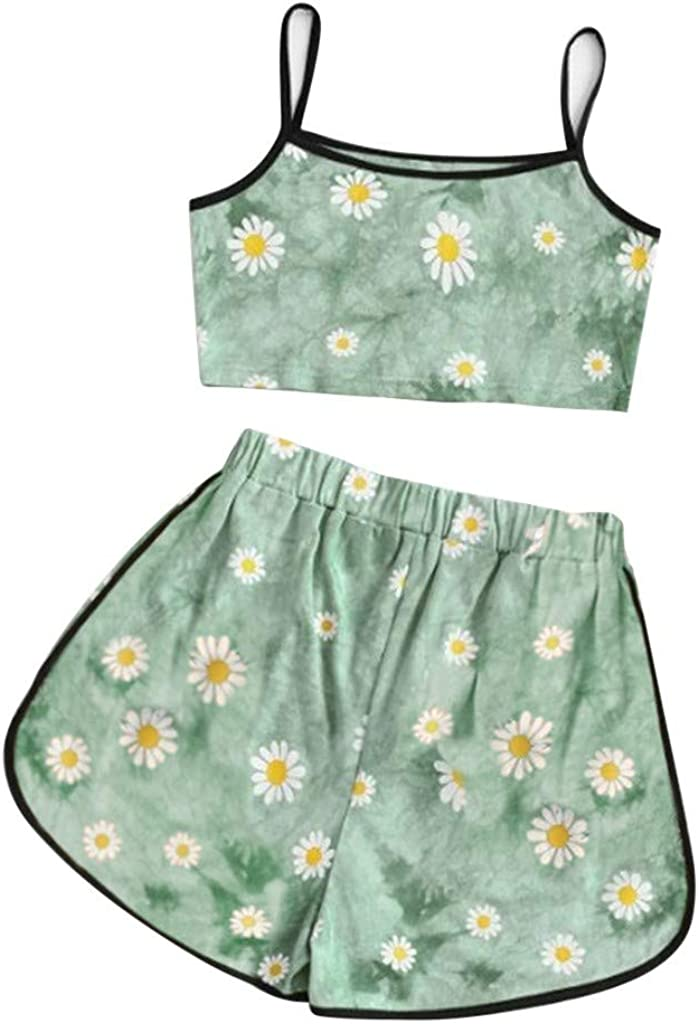 Womens Two Piece Shorts Outfits Sleeveless Strappy Short Daisy Print Cami Belt Top Pants Suit