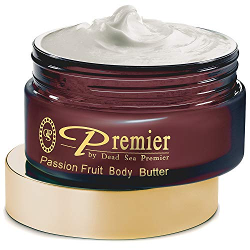 Premier Dead Sea Aromatic Body Butter- Passion Fruit, anti aging skin care, moisturizer, hydrating shea butter, stretch mark cream, firming, age spots, neck & Décolleté, lightweight & silky, 5.95Fl.oz