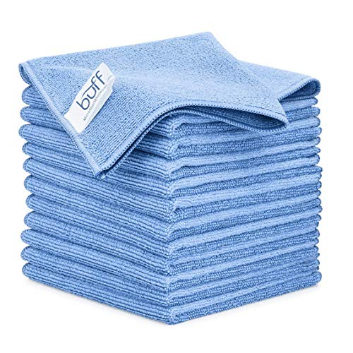 12' x 12' Buff Pro Multi-Surface Microfiber Cleaning Cloths | Blue - 12 Pack | Premium Microfiber Towels for Cleaning Glass, Kitchens, Bathrooms, Automotive