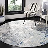Safavieh Jasper Collection JSP107G Modern Contemporary Abstract Area Rug, 6' 7' Round, Grey/Blue