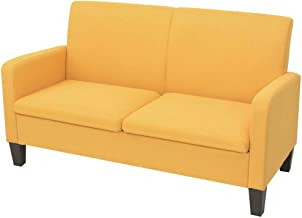 vidaXL 2-Seater Sofa 135x65x76cm Yellow Couch Lounge Living Room Furniture