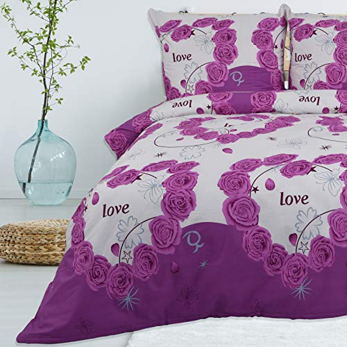 Bettwäsche 200x200 cm 3 teilig aus 100% Baumwolle Renforce mit Reißverschluss Bettwäscheset 1 Bettbezug und 2 Kissenbezüge Standardgröße, Farbe Lila Pink Weiß Mehrfarbig, mit Muster, Rosen Love