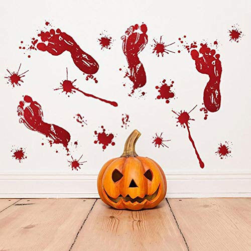 OLDTIEA Sticker Mural décoration murale Environnement Autocollant Vinyle Art Decal Decor New Halloween Sang Empreintes De Verre Fenêtre De Vivre Classes Décoration De La Maison