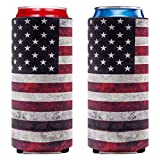 ROLEES Slim Can Sleeves - Neoprene Bottle Insulator Sleeve Set of 2 Can Beverage Coolers for 12oz Energy Drink & Beer Cans Like White Claw, Red Bull, Michelob Ultra (Retro American flag)