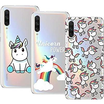 Young & Ming Compatible para Xiaomi Mi A3 Funda, (3 Pack) Transparente Ultrafina Carcasa Delgado antigolpes Resistente, Unicornio