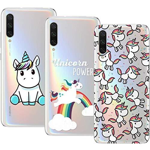 Young & Ming Cover Xiaomi Mi A3, (3 Pack) Morbido Trasparente Silicone Custodie Protettivo TPU Gel Case, Unicorno
