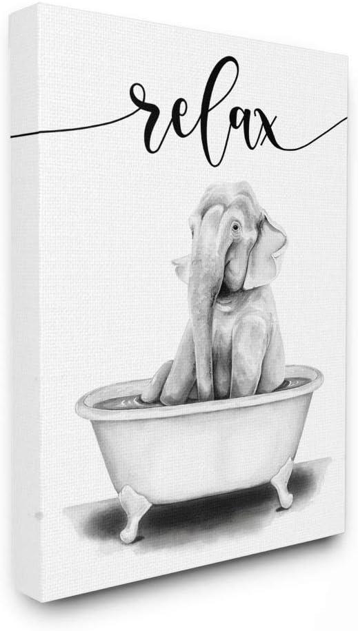 Stupell Industries Elephant Bathroom Relax Tub Sketc Animal 人気ブレゼント! セットアップ Text