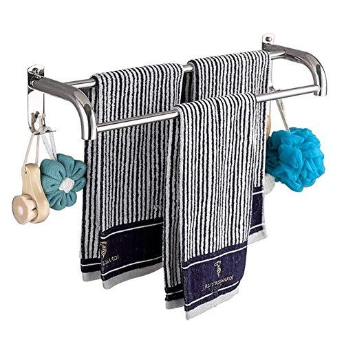 Handdoekhouder 40 cm met haak zelfklevende handdoekhouder waterdichte handdoekhouder van roestvrij staal wandrek met dubbele stang voor handdoeken badjas theedoeken in badkamer keuken (grootte: 40cm) 40 cm.