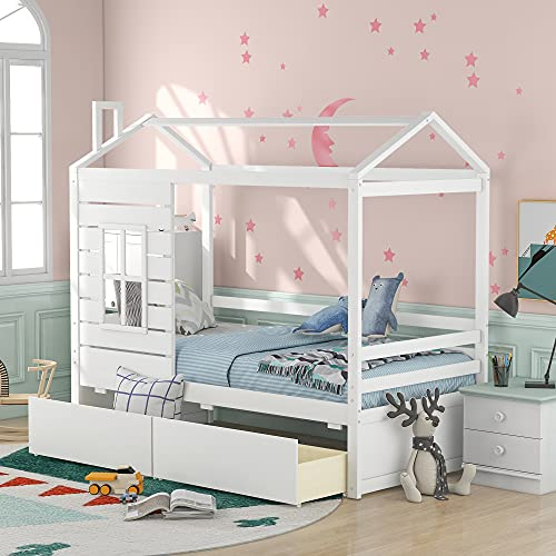 Twin Daybed for Kids with 2 Drawers, House Shape Wooden Bed Frame with Roof and Window, Bedroom Furniture, Can be Decorated, Tent (White + Drawers + Twin)