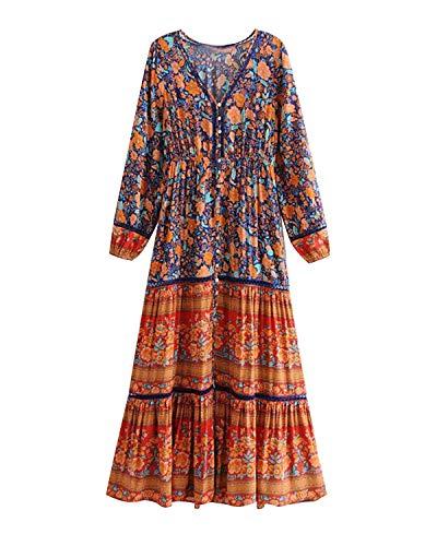 Unifizz vestido bohemio de manga larga con cuello en V para mujer - - Medium
