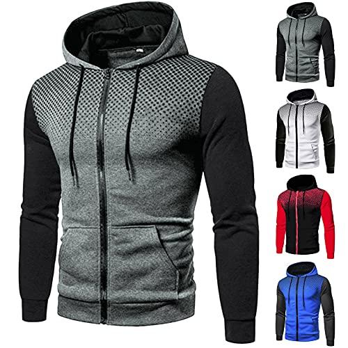 Men's Hoodies Plain Zipper Athletic Sweatshirt Long Sleeve Gym Hooded Drawstring Workout Sweatshirts with Pocket (#01-Gray, XXL)