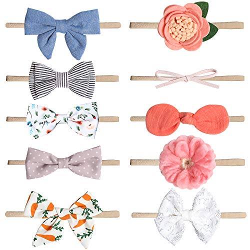 Baby Girl Headbands Nylon Bows 10 Packs Mix Style Hair Band Accessories for Newborn Toddler and Little Baby A