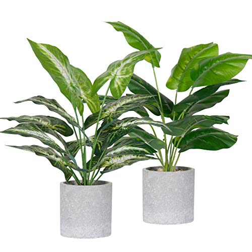 2 Pack Fake Plants Artificial Potted Faux Plants for Office Desk Home Farmhouse Decor