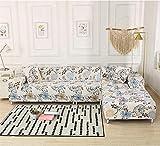 ARTEZXX Funda elástica para sofá de 1/2/3/4 plazas Flor Blanca Cubierta Antideslizante en Tejido elástico Extensible Protector de sofá Cobertura Total Multifuncional combinada 3 plazas: 190-230 cm