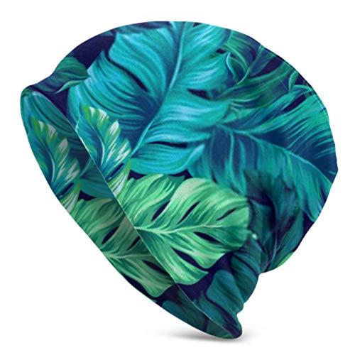 AEMAPE Gorros para hombre y mujer, color turquesa verde tropical, sin costuras, gorro elástico, suave