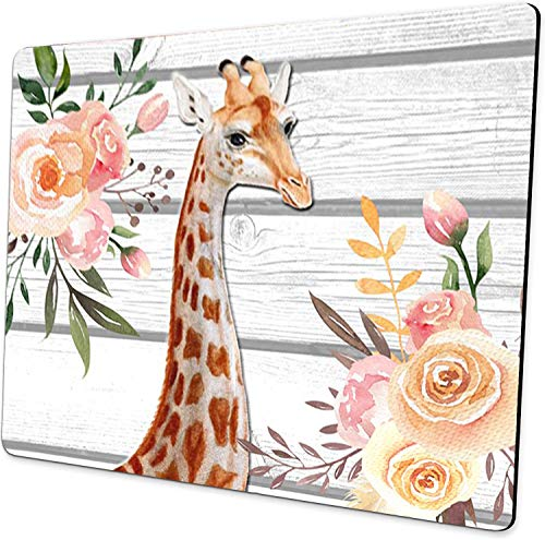 Giraffe Watercolor Floral Mouse Pad Boho Design Faux Wood Mousepad Cute Desk Accessories Giraffe Gifts