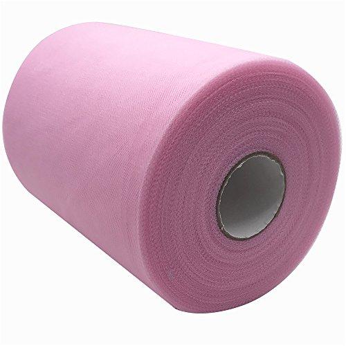 Carrete de tela de tul de 15,2 cm x 91,4 m, 59, colores disponibles, para caminos de mesa, sillas, lazos, faldas, costura, manualidades, tela para boda, fiesta, regalos. rosa