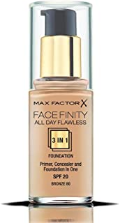 Max Factor Face-Finity All Day Flawless 3 In 1 SPF 20 Foundation Makeup for Women, No. 80 Bronze, 1 Ounce