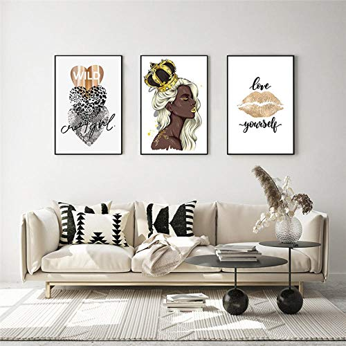 HUANGXLL Fashion Wall Art Poster Flower Perfume Golden Lips Art Picture Black Girl with Crown Canvas Painting Modern Trendy Home Decor-30x50cmx3Pcs-No Frame