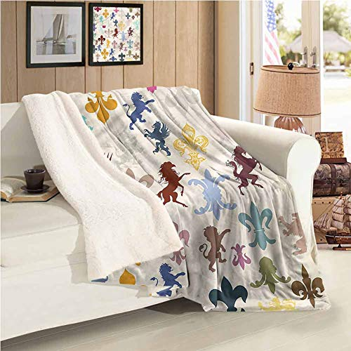 Maureen Austin Fleur De Lis Weighted Blanket Child Lions Horses Griffins Easy to Care 59'X47'Inch