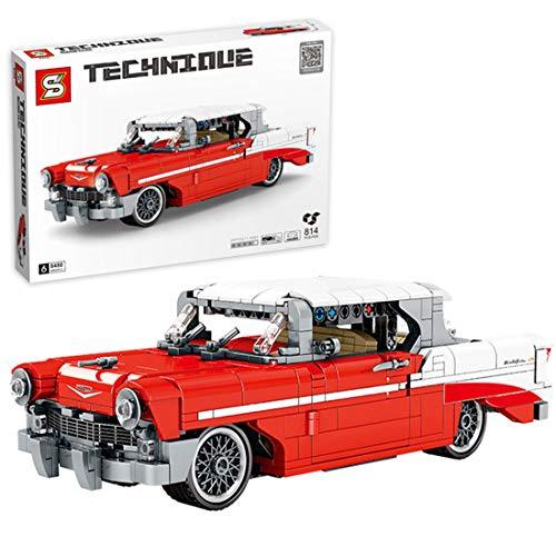 Trueornot Technik Bausteine Auto, 814stk Technic Retro Oldtimer Pull-back Car Modell Konstruktionsspielzeug Kompatibel mit Lego Technik