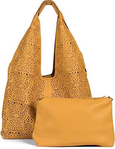 styleBREAKER Damen Beutel Handtaschen Set mit gestanztem Paisley Lasercut Muster, 2 Taschen, Schultertasche, Shopper 02012340, Farbe:Gelb