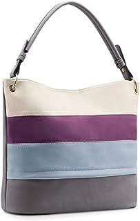 Plambag Multi Color Stripped Handbag for Women, Faux Leather Hobo Shoulder Tote Bag