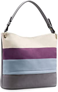 Plambag Multi Color Stripped Handbag for Women, Faux Leather Hobo Shoulder Tote Bag
