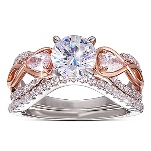 minjiSF Anillo de diamante para mujer, anillo de año, bonito y único, anillo de boda, anillo de compromiso, anillo de recuerdo, anillo de oro rosa 7, 7