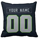 Personalized Custom Football Decorative Throw Pillow Cheap 18' x 18' - Print Personalized Customization Select Any Name & Any Number (Navy-29)