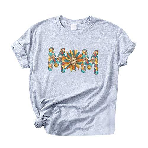Kpasati Sommer T-Shirt Damen Tunika Muttertag Einfachheit Brief Drucken Kurzarm BlusenCasual Übergröße Oberteile Tops