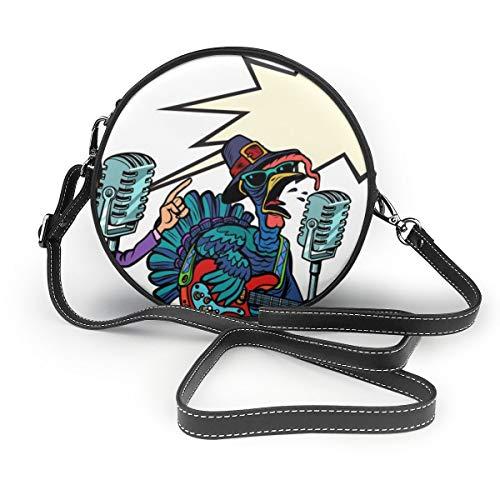 Sitear Damen PU Leder Reißverschluss rund Umhängetasche Handtasche Tasche für Arbeit Reisen Dating Erntedankfest und Halloween Musik Festival Kürbis und Türkei Comic Pop Art Retro