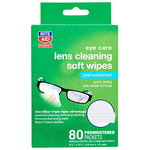 Rite Aid Soft Lens Cleaning Wipes, Premoistened, Individually Wrapped Packets - 80 Count | Eyeglass Cleaning Wipes Alaska