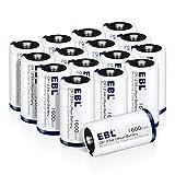 EBL 16 Pcs CR123A Batterie al Litio da 1600mAh,Non Ricaricabili per Flashlight, Fotocamera Digitale, Videocamera, Giocattoli, Macchina Fotografica, Torcia, Microfoni, ecc
