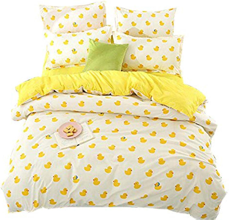 KFZ Bed SET (Twin Full Queen King size) [4 piece  duvet cover, Flat sheet, 2 pillow cases] No comforter KSN Plaid Seagull Duck Leopard design for Girls Kid Sheets Set(Baby Duck, Yellow, Twin, 59 x79 )