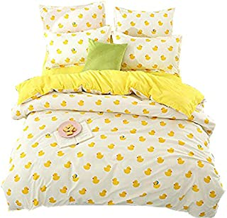 KFZ Bed SET (Twin Full Queen King size) [4 piece: duvet cover, Flat sheet, 2 pillow cases] No comforter KSN Plaid Seagull Duck Leopard design for Girls Kid Sheets Set(Baby Duck, Yellow, Twin, 59