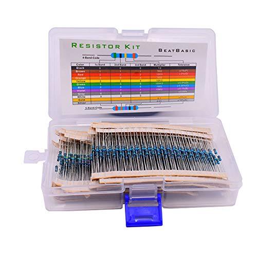 600 Piezas 30 Valores 1% Kit de Resistencia, (10R - 1M) 1 / 4W Resistencia de Película Metálica Para Bricolaje y Experimentación, Kit de Resistencia de Película Metálica (En Caja)