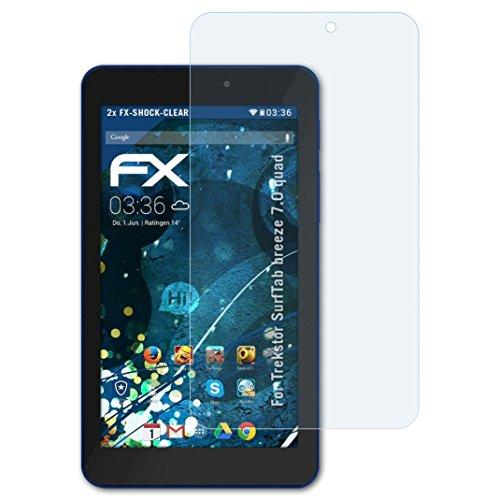 atFolix Schutzfolie kompatibel mit Trekstor SurfTab Breeze 7.0 Quad Panzerfolie, ultraklare & stoßdämpfende FX Folie (2X)