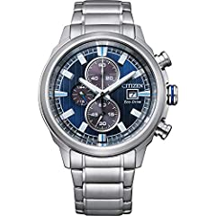 Round watch with blue dial, white accents, a date window at four o'clock, and three subdials that feature a 1/5-second chronograph, display 12 and 24 hour time formats 43mm stainless steel case with mineral crystal dial window Powered by light with E...