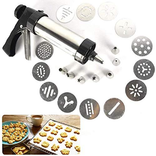 Calayu Edelstahl Gebäckspritze mit 8 Düsen und 13 Schablonen, Gebäckpressen-Set Donut Spritzen Kuchenspritze Gebäckpresse Einhandbedienung DIY Biscuit Maker Kuchen dekorieren