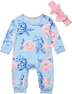 Therecoe86 Toddler Rompers Jumpsuit,Baby Girls Floral O-Neck Long Sleeve Romper Jumpsuit Bowknot Headband Outfit - Light Blue 100